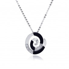 -CLOSEOUT- Wholesale Sterling Silver 925 Rhodium Spiral Black and Silver CZ Necklace - BGP00211