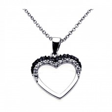 Sterling Silver Black Rhodium and Rhodium Plated Open Heart Black and White CZ Necklace - BGP00212