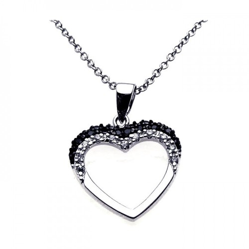 Wholesale Sterling Silver 925 Black Rhodium and Rhodium Plated Open Heart Black and White CZ Necklace - BGP00212