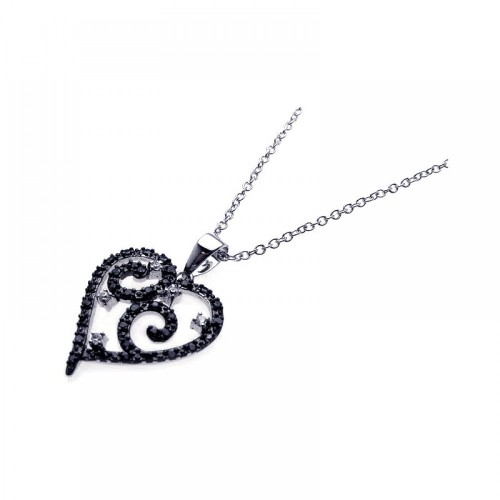 **Closeout** Wholesale Sterling Silver 925 Rhodium Open Heart Filigree CZ Necklace - BGP00213