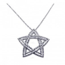 -Closeout- Wholesale Sterling Silver 925 Rhodium Double Open Star CZ Necklace - BGP00214