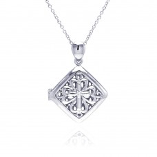 **Closeout** Wholesale Sterling Silver 925 Rhodium Square Filigree CZ Necklace - BGP00224