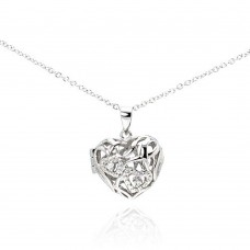 Sterling Silver Rhodium Heart Locket CZ Necklace - BGP00225