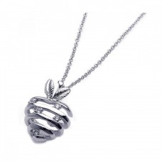 **Closeout** Wholesale Sterling Silver 925 Rhodium Strips Strawberry CZ Necklace - BGP00228