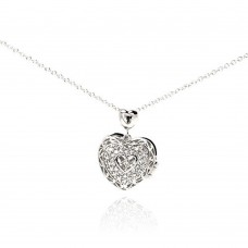Sterling Silver Rhodium Plated Heart CZ Necklace - BGP00229
