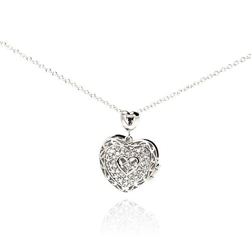 Wholesale Sterling Silver 925 Rhodium Plated Heart CZ Necklace - BGP00229