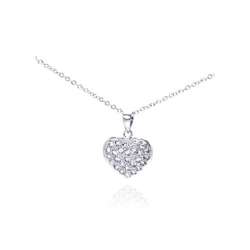 Wholesale Sterling Silver 925 Rhodium Heart Encrusted CZ Necklace - BGP00236