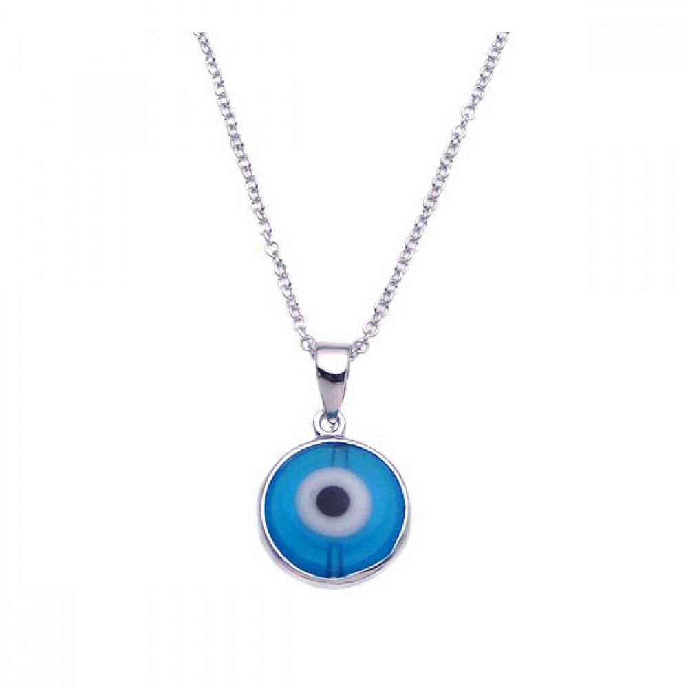 Wholesale Sterling Silver 925 Rhodium Plated Blue Evil Eye Necklace - BGP00240