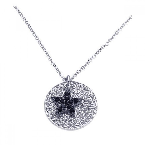 Wholesale Sterling Silver 925 Rhodium Plated Circle Filigree Black Star CZ Necklace - BGP00244