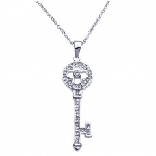Sterling Silver Rhodium Plated Key CZ Inlay Necklace - BGP00246