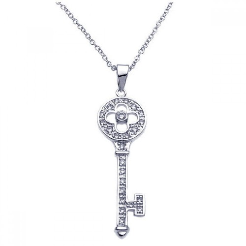 Wholesale Sterling Silver 925 Rhodium Plated Key CZ Inlay Necklace - BGP00246
