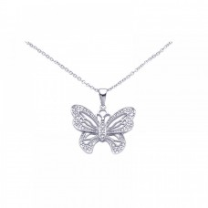 Sterling Silver Rhodium Open Butterfly CZ Necklace - BGP00248