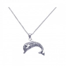 Sterling Silver Rhodium Clear Dolphin CZ Dangling Necklace - BGP00249