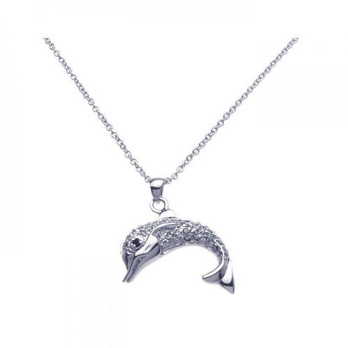 Wholesale Sterling Silver 925 Rhodium Clear Dolphin CZ Dangling Necklace - BGP00249