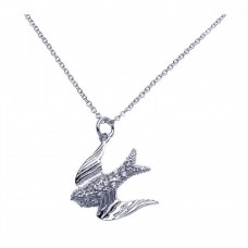 Sterling Silver Rhodium Dove CZ Dangling Necklace - BGP00253