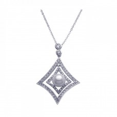 -Closeout- Wholesale Sterling Silver 925 Rhodium Plated Open Square CZ Center Pearl Necklace - BGP00254