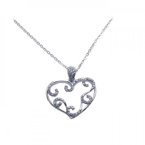 Wholesale Sterling Silver 925 Rhodium Plated Open Heart Filigree CZ Necklace - BGP00255