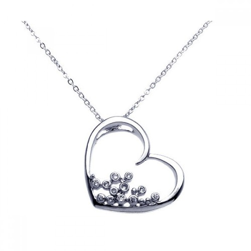 Wholesale Sterling Silver 925 Rhodium Plated Open Heart Round Filigree CZ Necklace - BGP00256