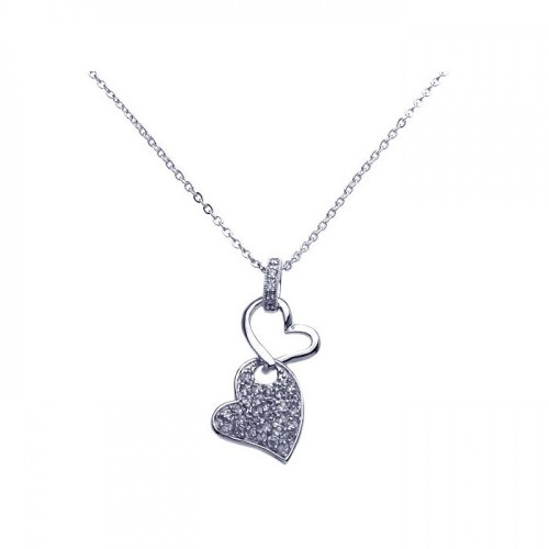 Wholesale Sterling Silver 925 Rhodium Plated Double Dangling Heart Clear CZ Pave Pendant Necklace - BGP00257