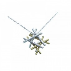 Sterling Silver Rhodium Four Toned Multiple Wooden Stick Round CZ Necklace - BGP00258