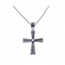 **Closeout** Sterling Silver Black and Rhodium Cross CZ Necklace - BGP00262