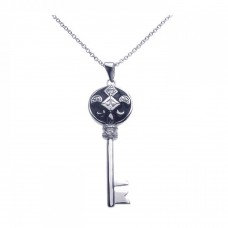 Sterling Silver Black Rhodium Key CZ Dangling Necklace - BGP00263