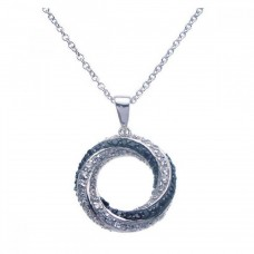 Sterling Silver Rhodium Open Circle Black and Clear CZ Necklace - BGP00265