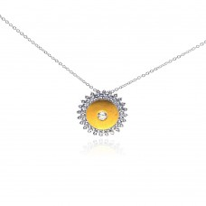 Wholesale Sterling Silver 925 Rhodium Plated Yellow Sun CZ Necklace - BGP00267