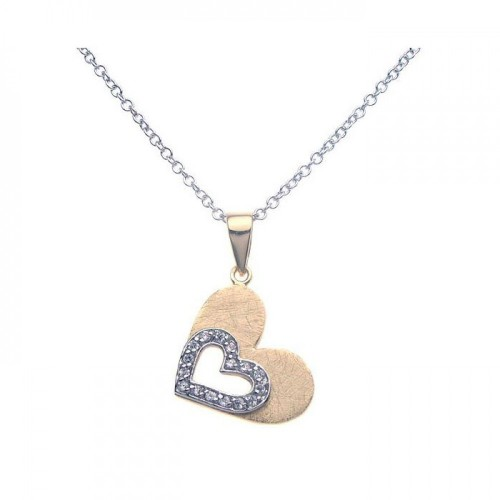 Wholesale Sterling Silver 925 Gold Rhodium Plated Double Open Heart CZ Necklace - BGP00268