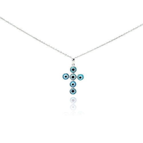 Wholesale Sterling Silver 925 Rhodium Plated Cross Evil Eye CZ Necklace - BGP00269