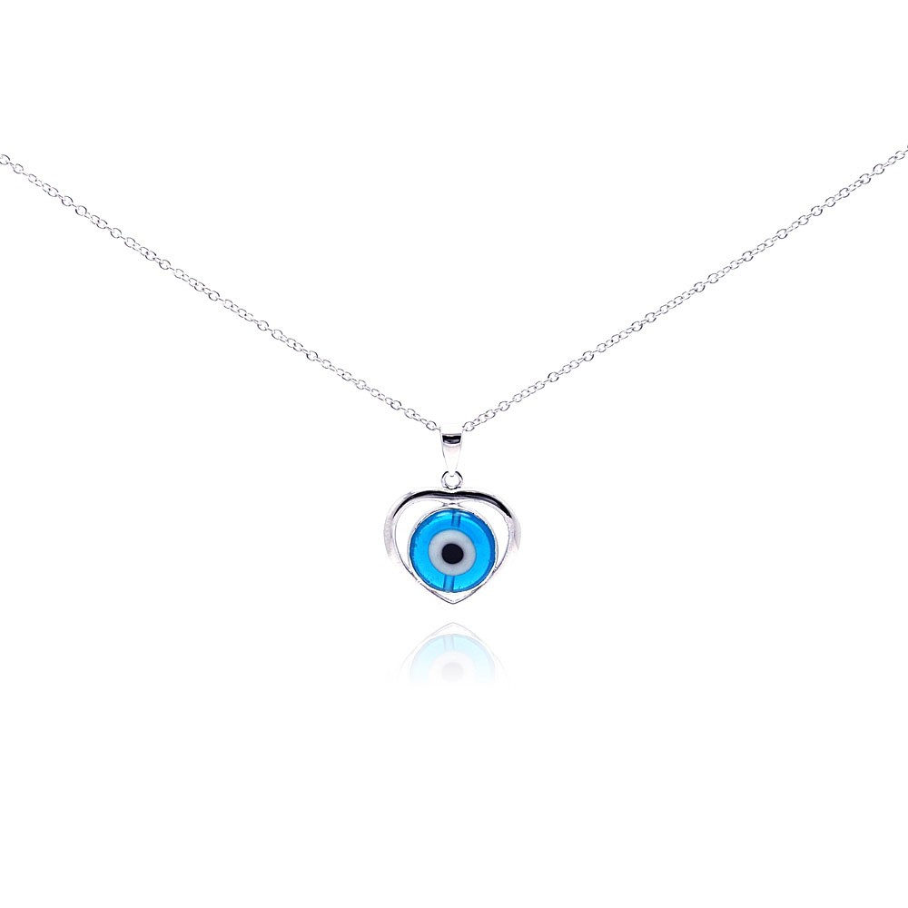 Wholesale Sterling Silver 925 Rhodium Plated Open Heart Evil Eye CZ Necklace -  BGP00270