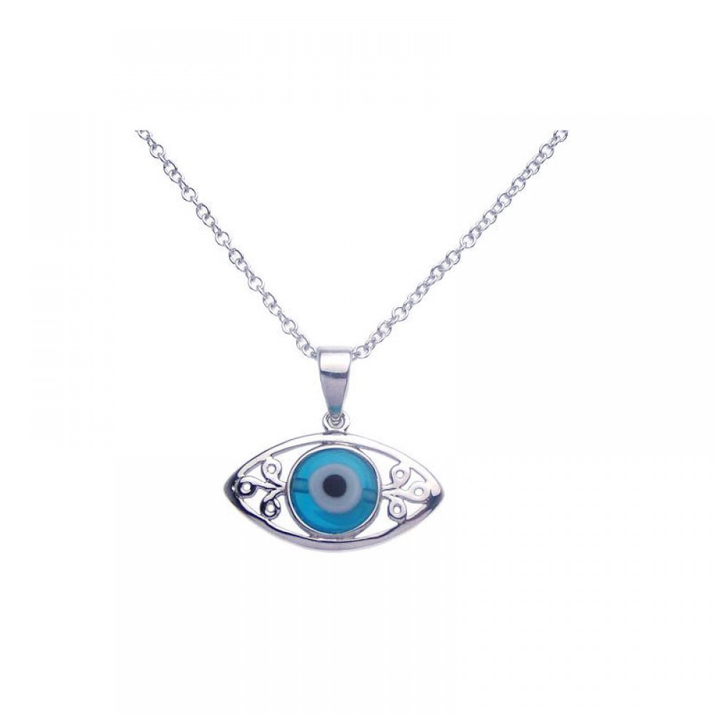 Wholesale Sterling Silver 925 Rhodium Plated Open Evil Eye Filigree CZ Necklace - BGP00272