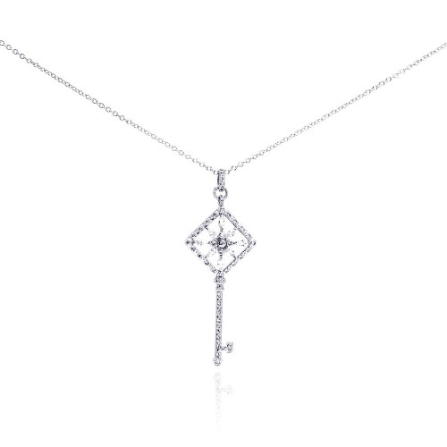 Wholesale Sterling Silver 925 Rhodium Plated Square Open Key Filigree CZ Necklace - BGP00273