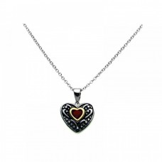 Sterling Silver Oxidized Rhodium Red Heart CZ Inlay Necklace - BGP00274