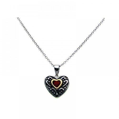 Wholesale Sterling Silver 925 Oxidized Rhodium Red Heart CZ Inlay Necklace - BGP00274