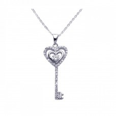 Sterling Silver Rhodium Plated Open Heart Key CZ Necklace - BGP00277