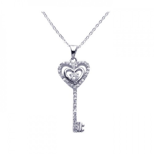 Wholesale Sterling Silver 925 Rhodium Plated Open Heart Key CZ Necklace - BGP00277