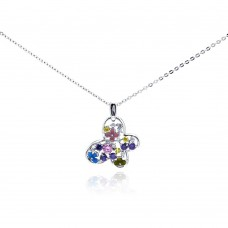 ***CLOSEOUT*** Sterling Silver Rhodium Plated Multicolor Butterfly CZ Necklace - BGP00280