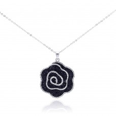 **Closeout** Wholesale Sterling Silver 925 Rhodium Plated Black and Clear CZ Covered Flower Necklace - BGP00286