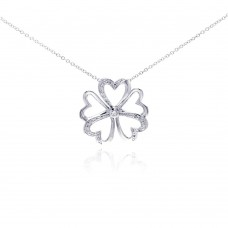**Closeout** Wholesale Sterling Silver 925 Rhodium Plated Open Heart Flower CZ Necklace - BGP00287