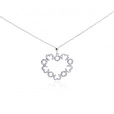 Wholesale Sterling Silver 925 Rhodium Plated Open Big Heart Small Heart CZ Necklace - BGP00288