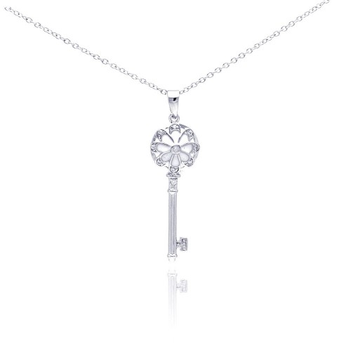 Wholesale Sterling Silver 925 Rhodium Plated Key CZ Necklace - BGP00289