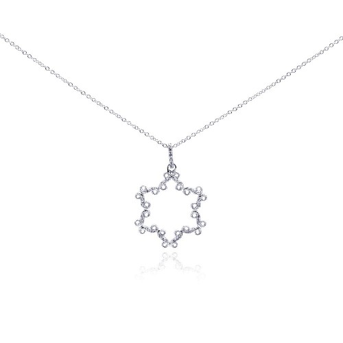 -Closeout- Wholesale Sterling Silver 925 Rhodium Plated Open Star CZ Necklace - BGP00290
