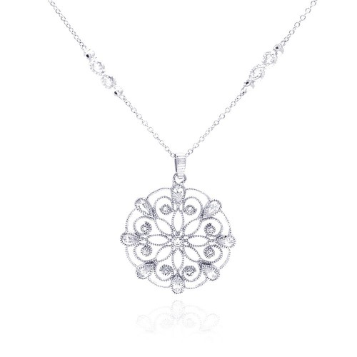 Wholesale Sterling Silver 925 Rhodium Plated Open Outlined Snow Flakes CZ Necklace - BGP00291