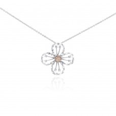 **Closeout** Wholesale Sterling Silver 925 Rhodium Plated Open Flower Champagne CZ Necklace - BGP00293