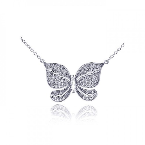 Wholesale Sterling Silver 925 Rhodium Plated Butterfly CZ Necklace - BGP00299