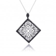 **Closeout** Sterling Silver Black Rhodium Plated Square Filigree Marcasite CZ Necklace - BGP00303