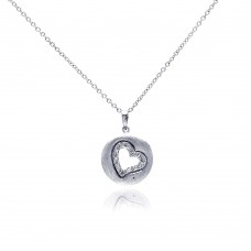 Wholesale Sterling Silver 925 Rhodium Plated Open Heart Imprint CZ Necklace - BGP00304