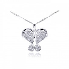Sterling Silver Rhodium Plated Butterfly Plated CZ Necklace - BGP00306