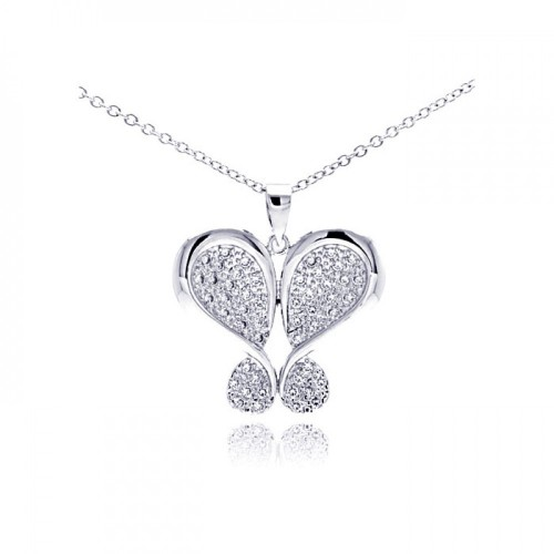Wholesale Sterling Silver 925 Rhodium Plated Butterfly Plated CZ Necklace - BGP00306